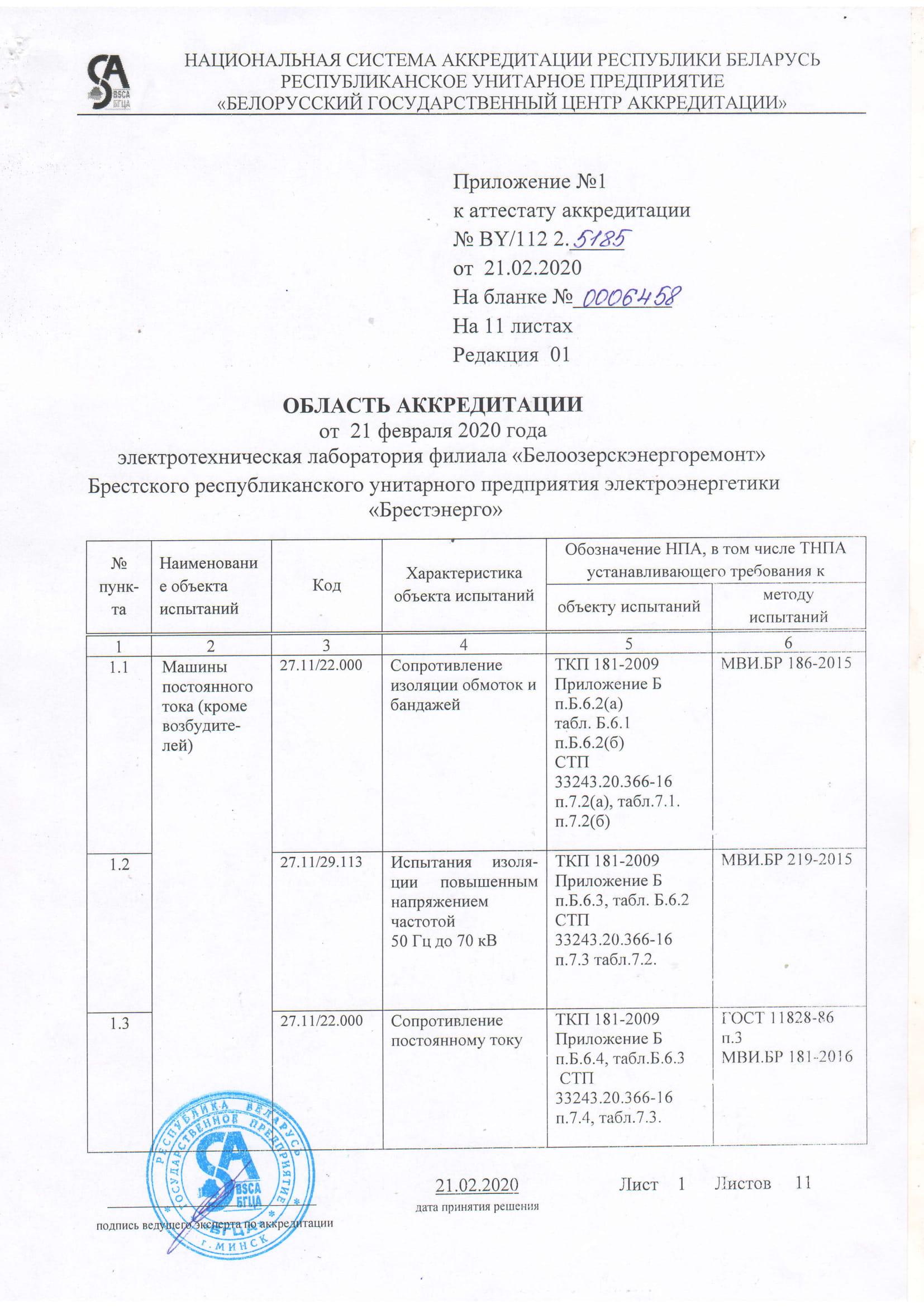 Область аккредитации ЭТЛ-01